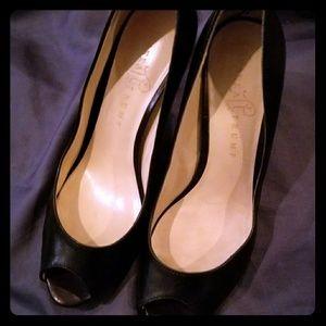 Black opened toe heels